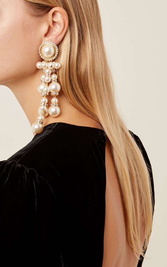 Gold-Tone, Faux Pearl And Crystal Clip Earrings