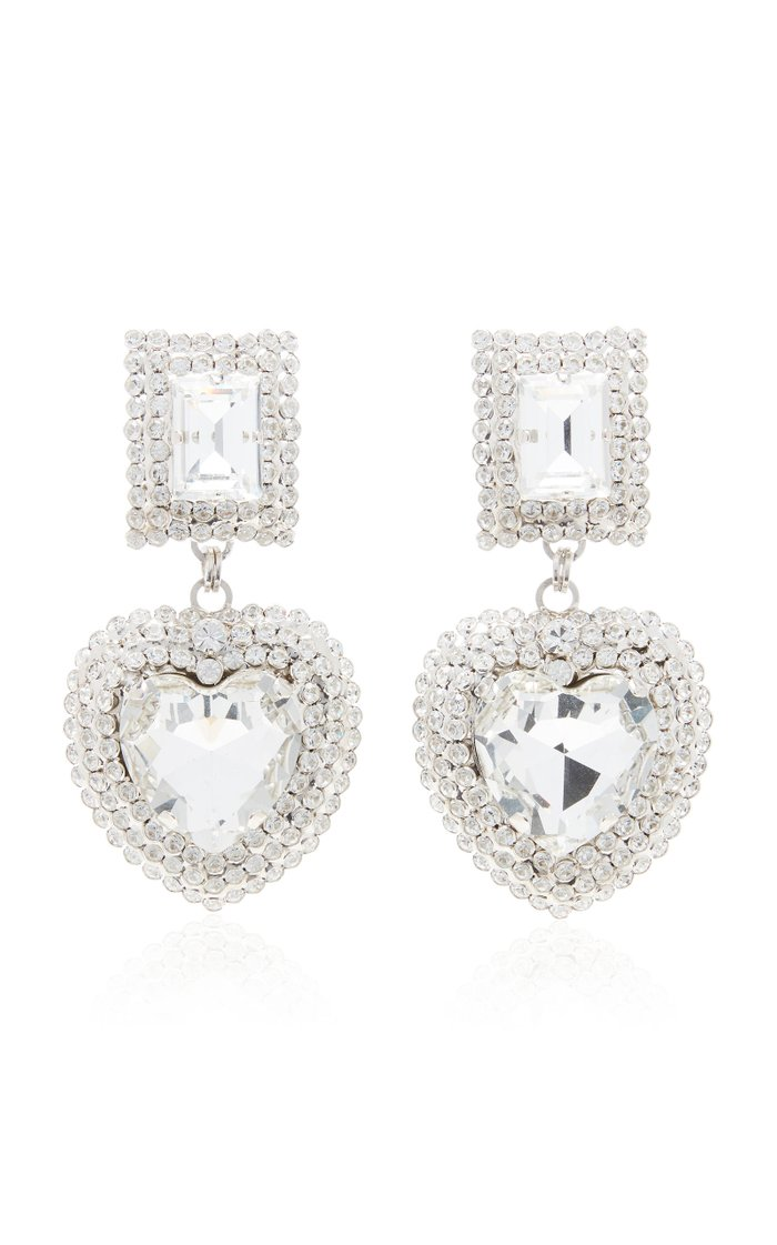Silver-Tone And Crystal Clip Earrings