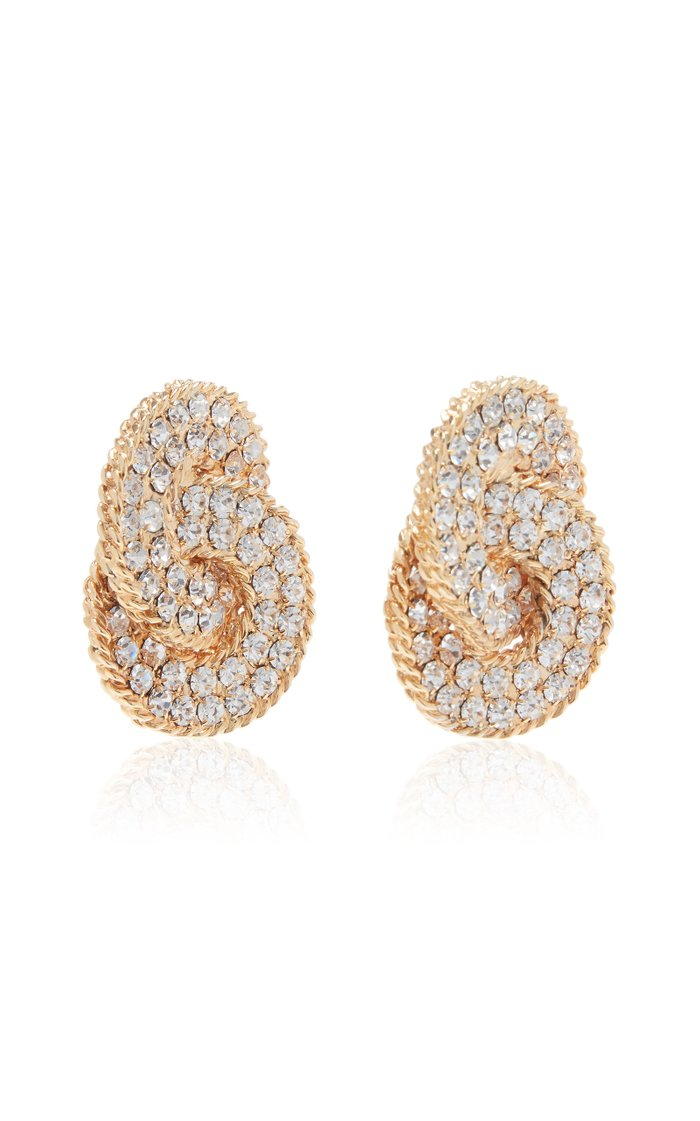 Gold-Tone And Crystal Clip Earrings