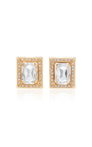 Crystal-Embellished Gold-Tone Clip-On Earrings