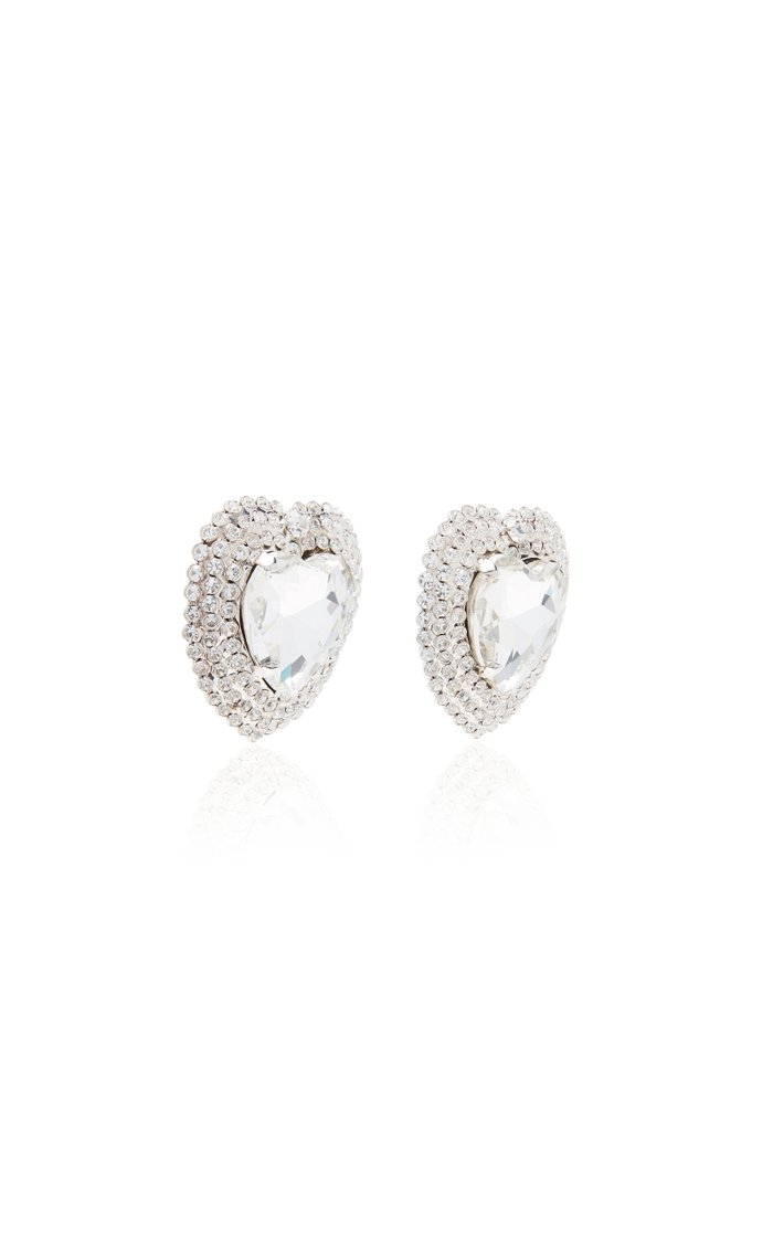Heart Crystal-Embellished Silver-Tone Clip-On Earrings