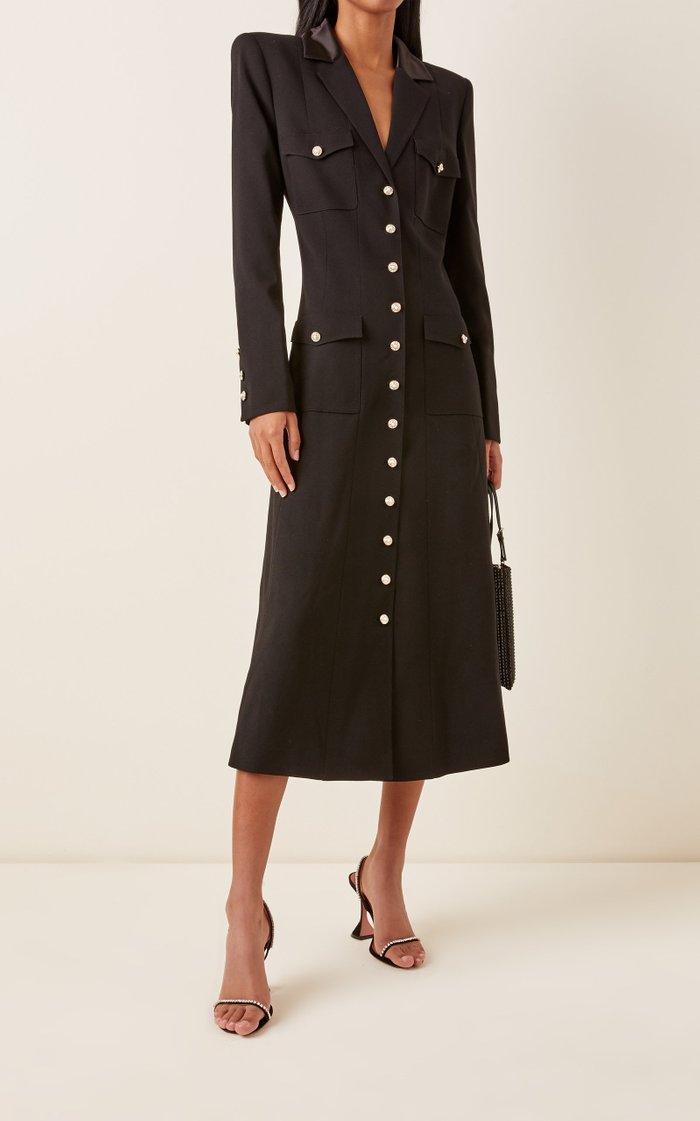 Wool Button Front Pocket Dress