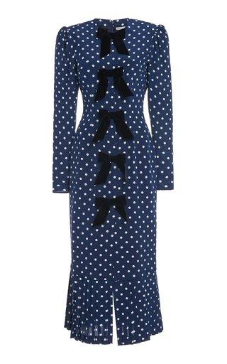 Velvet-Trimmed Polka-Dot Silk Midi Dress