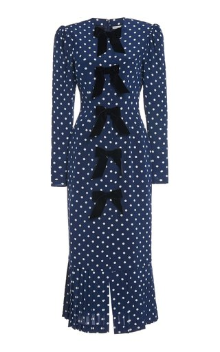 Velvet-Trimmed Polka-Dot Silk Midi Dress