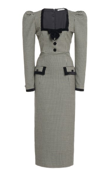 Velvet-Trimmed Gingham Wool-Blend Midi Dress
