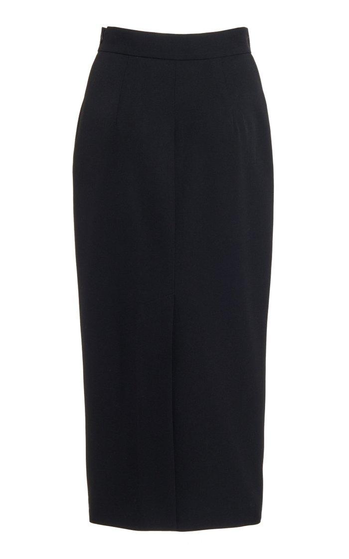 Wool-Blend Midi Pencil Skirt