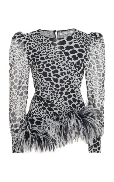 Leo Print Silk Long Sleeves Top With Feather Trim