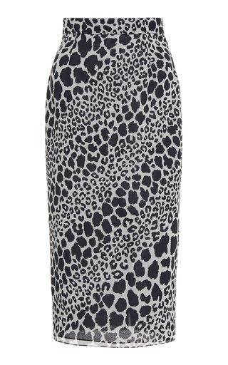 Leo Print Silk Midi Skirt