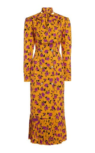 Floral Silk Dress With Lavalliere Collar