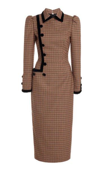 Velvet-Trimmed Gingham Wool-Blend Midi Dress