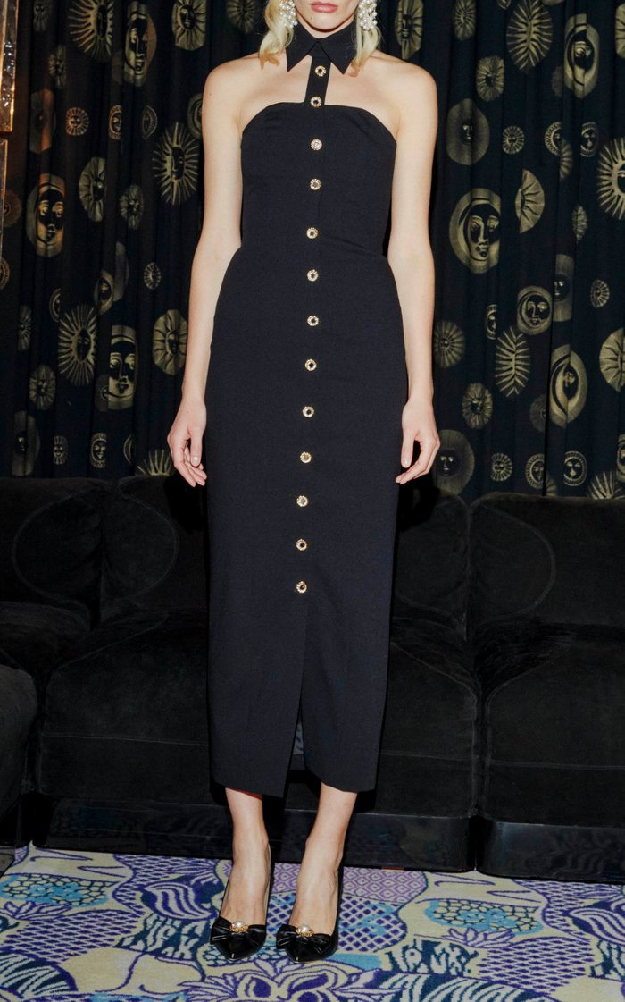 Stretch Wool Dress With Collar And Crystal Buttons