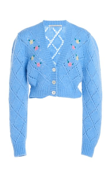 Floral-Embroidered Alpaca-Blend Cropped Cardigan