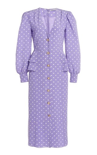 Button-Detailed Polka-Dot Silk Midi Dress
