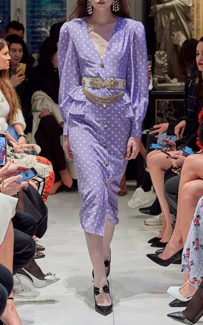 Button-Detailed Polka-Dot Silk Midi Dress