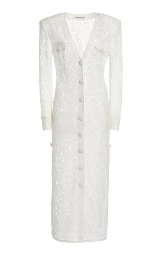 Button-Front Lace Midi Dress