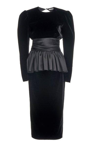 Satin-Trimmed Velvet Open-Back Midi Dress