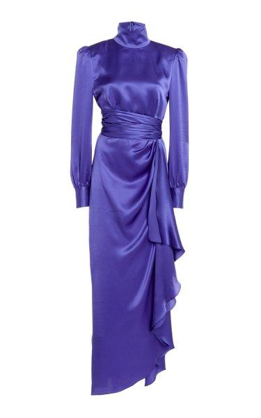 Belted Silk Satin High-Neck Gown
