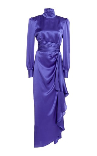 Belted Silk Satin High-Neck Gown