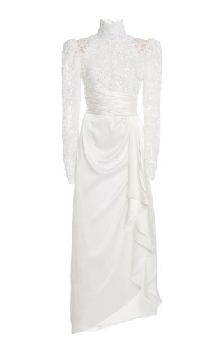 Silk Satin High Neck Gown With Embroidery