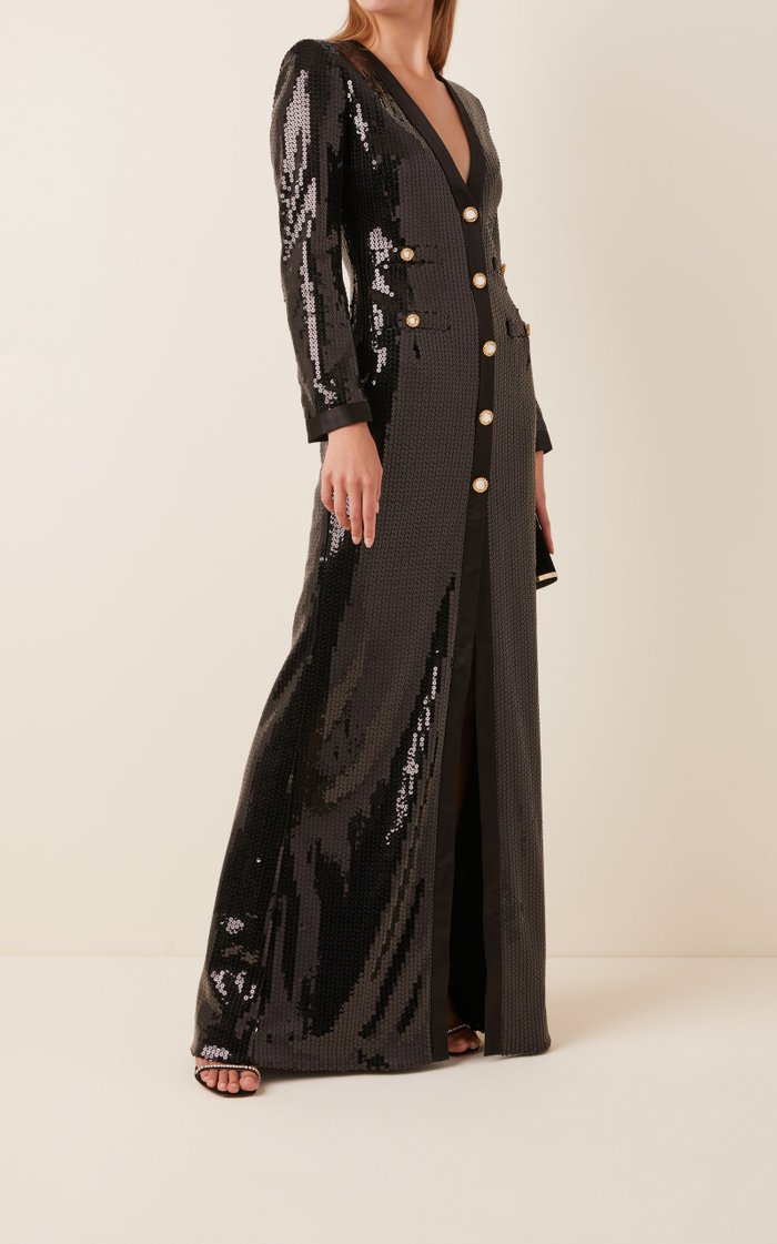 Sequined Button-Front Gown