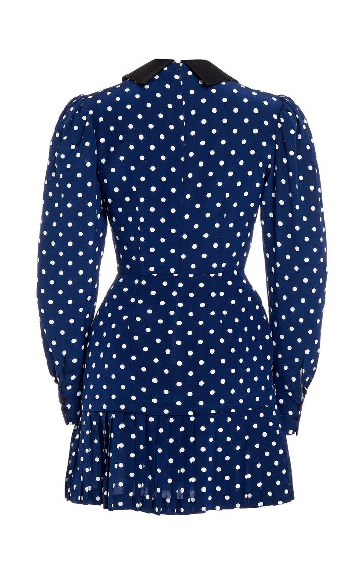 Satin-Trimmed Polka-Dot Silk Mini Dress