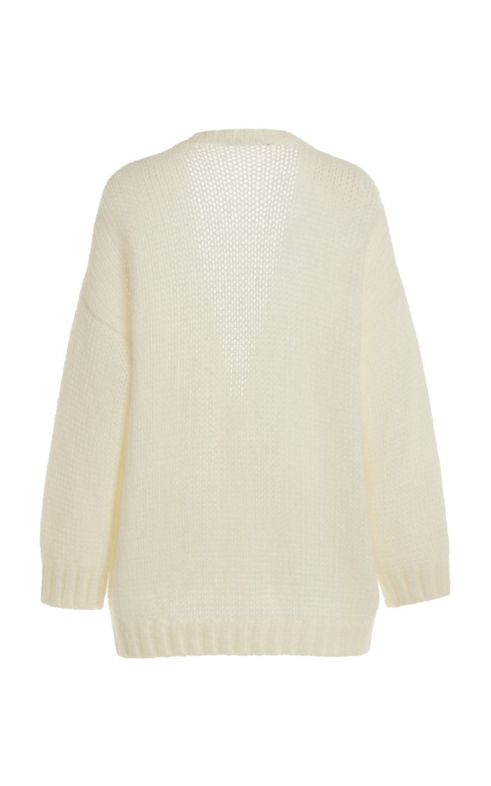 Button-Detailed Oversized Mohair-Wool Cardigan