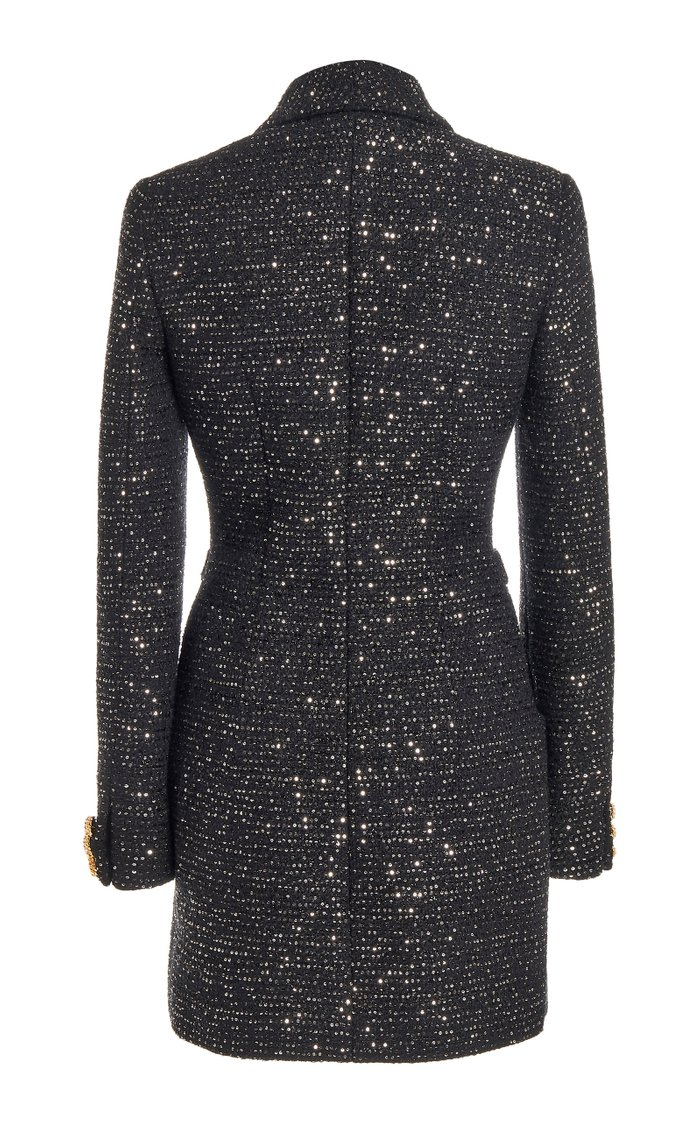Sequined Tweed Button-Front Mini Dress
