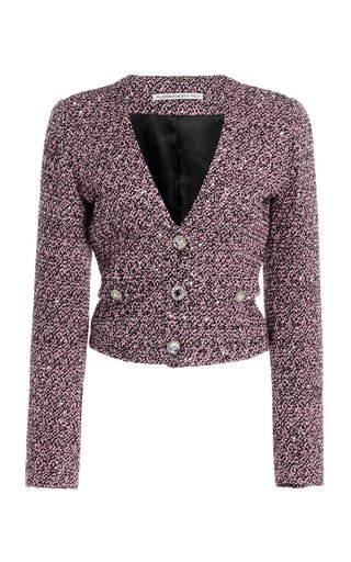 Sequined Tweed Cropped Jacket