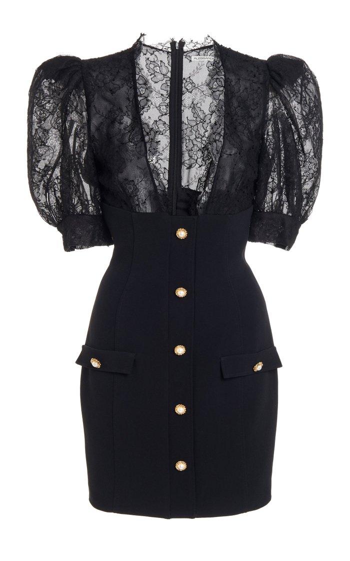 Lace-Inset Crepe Mini Dress