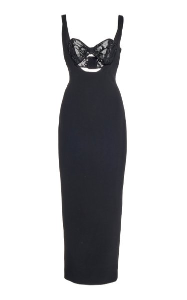 Sequined Bra-Inset Cady Midi Dress