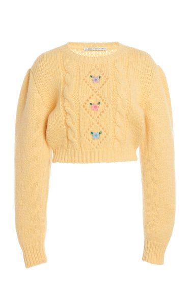 Floral-Embroidered Alpaca-Blend Cropped Sweater