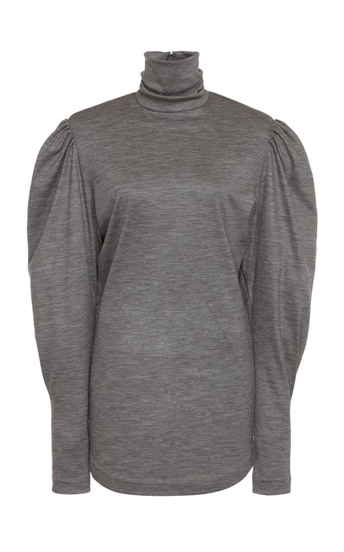 Gavina Puff-Sleeve Jersey Turtleneck Top
