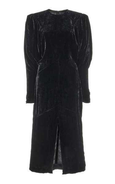 Geniasi Puffed-Sleeve Velvet Midi Dress