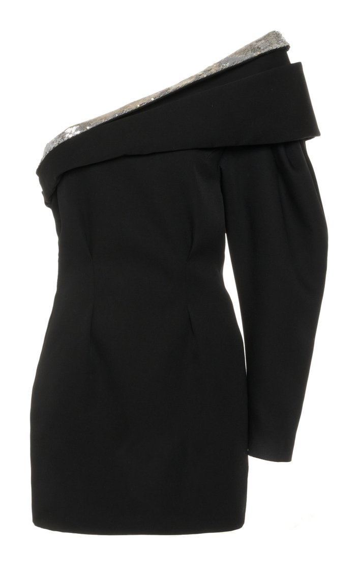 Lidia One-Shoulder Wool-Crepe Dress