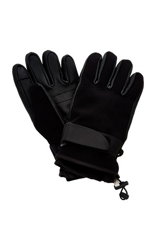 3 Moncler Grenoble Leather-Trimmed Shell Ski Gloves