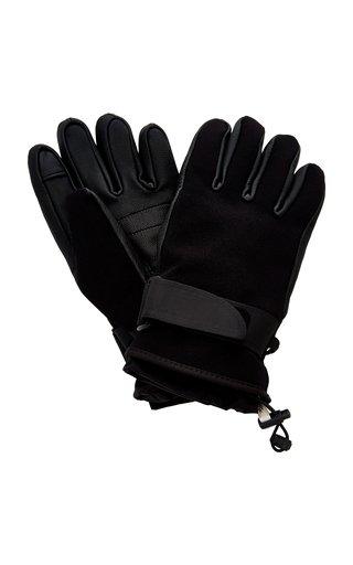 3 Moncler Grenoble Leather-Trimmed Shell Ski Gloves