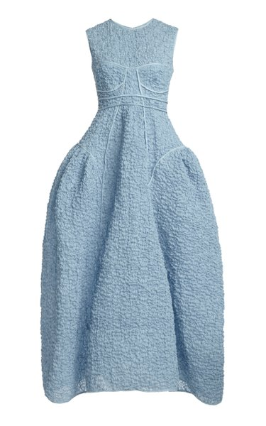 Lia Cotton Cloque Bustier Maxi Dress