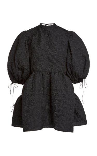 Lulu Puffed-Sleeve Cloque Top