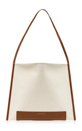 Joy Leather-Trimmed Canvas Shopper Tote