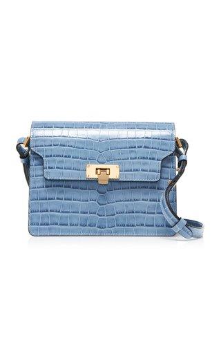 Vintage Brick Croc-Effect Leather Shoulder Bag