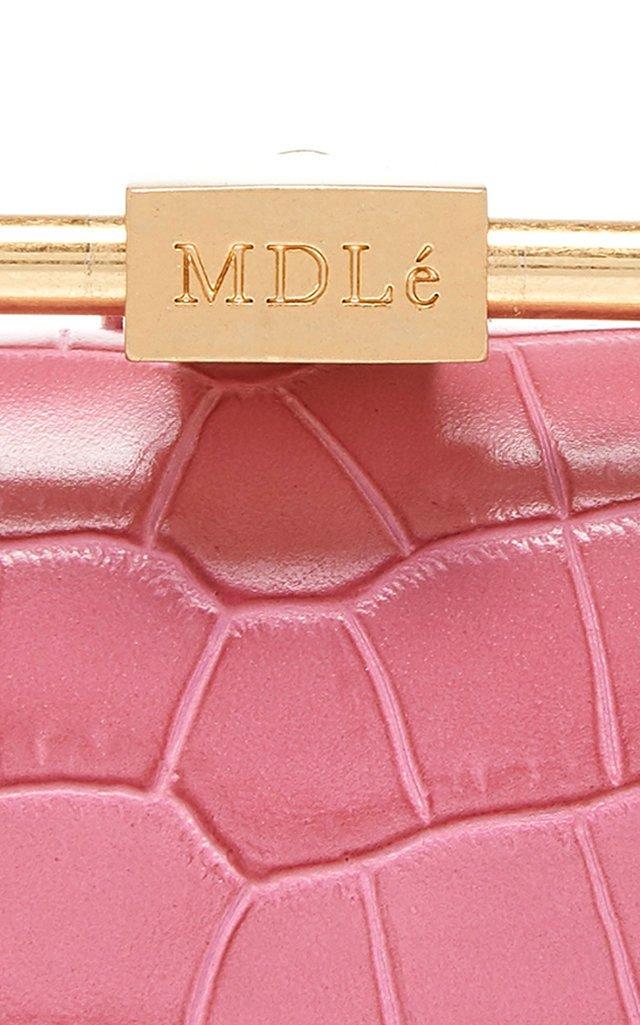 Mini Pump Croc-Effect Leather Top Handle Bag
