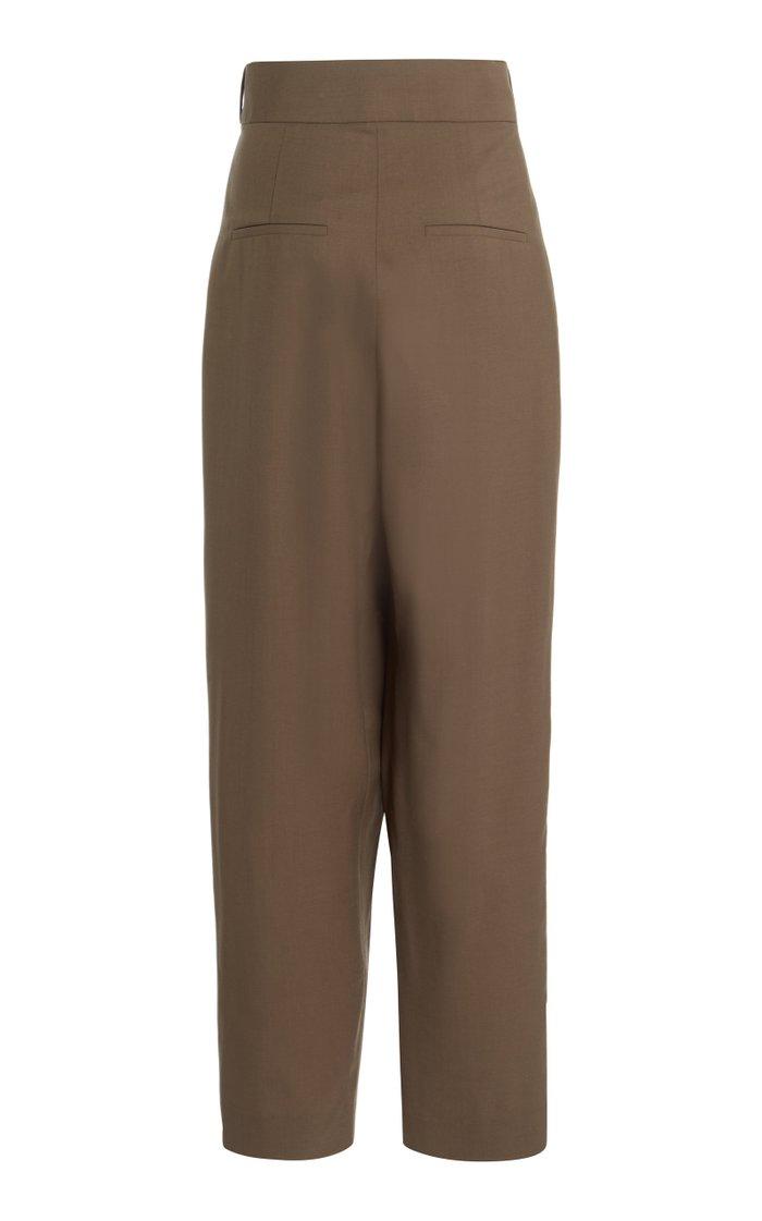 Wrap-Effect Wool Wide-Leg Pants