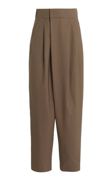 Wrap-Effect Wool Wide-Leg Pants