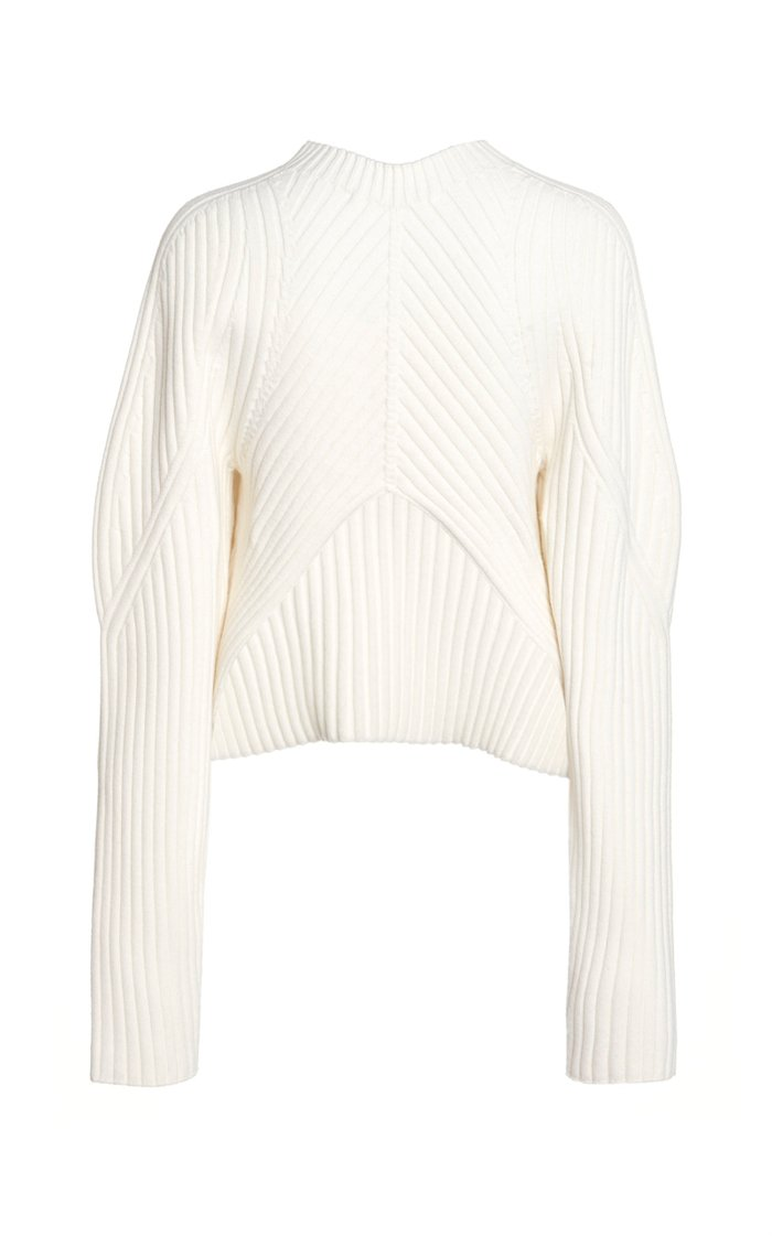 Ribbed-Knit Wool-Blend Cropped Mock-Neck Sweater