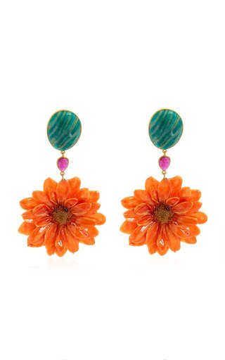 Real Daisy, Ruby, Amazonite 18K Yellow Gold Earrings