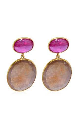 Ruby, Sapphire 18K Yellow Gold Earrings