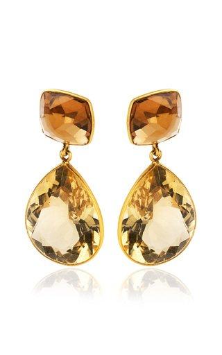 Citrine, Quartz 18K Yellow Gold Earrings