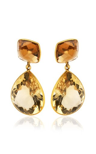 Citrine, Quartz 18K Yellow Gold Earrings
