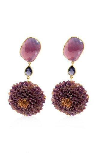 Real Dahlia, Sapphire, Iolite 18K Yellow Gold Earrings