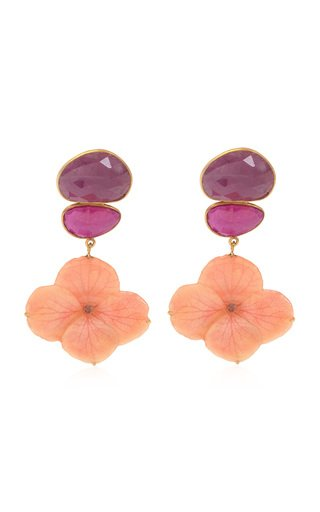 Real Hydrangea, Ruby 18K Yellow Gold Earrings